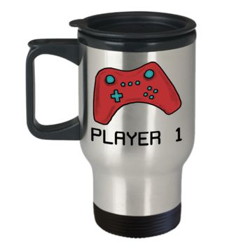 Video Gamer Travel Mug ~ Player 1 ~ Red Game Controller