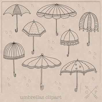 Umbrella Clipart (A set of 8). Handdrawn doodle clipart umbrellas digital stamps perfect for invitations scrapbooking cards logo design etc
