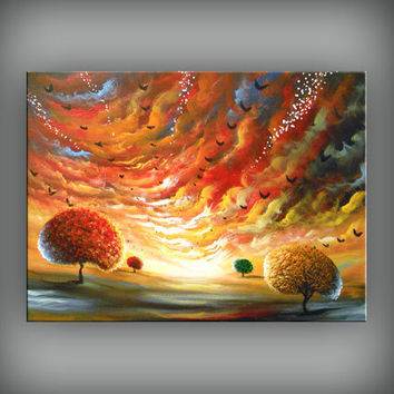 Large painting lollipop tree painting folk art original landscape cloud sunset 24 inch retro vintage illustration Mattsart