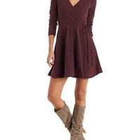 Burgundy Jella C Surplice Neck Wrap Dress by Charlotte Russe