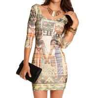Pre-Order IvoryGoldBlack Egyptian Midi Dress