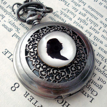 Silver Pocket Watch with Custom Silhouette