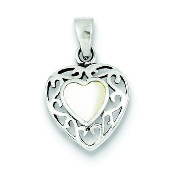 Sterling Silver Mother of Pearl Heart Antiqued Pendant QP2829