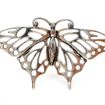Sterling Silver Butterfly Brooch Pin Vintage
