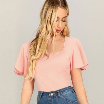 Pink Casual Square Neck Flutter Sleeve Solid Textured T-shirt Women Going Out Minimalist Short Sleeve Tee Top