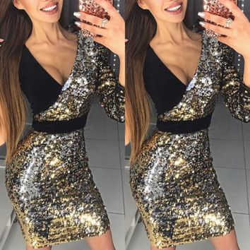 Women Ladies Fashion New Sexy Pencil Dresses Long Sleeve One Shoulder Dress Patchwork V-Neck Mini Dress