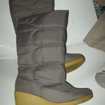 8os womens WINTER insulated gray wedge heel tall boots by BALLOONS