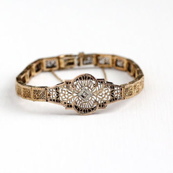 Antique Art Deco 10k Rose Gold Filled Genuine Diamond Flower Filigree Bracelet - Vintage 1920s Panel Two Tone Floral Design Bridal Jewelry