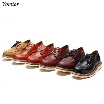 Handmade Men Fashion Working Boots British Cow Leather Wing Mens Boots Genuine Leather Shoes Luxury Brand Male Red Ankle Boots