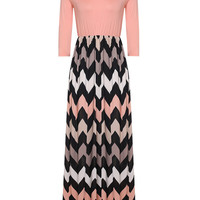 Pink Chevron Printed Maxi Dress