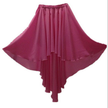 2016 Spring and Summer women's brand good quality ankle-length chiffon Irregular skirt,plus size sexy skirt pink princess skirt