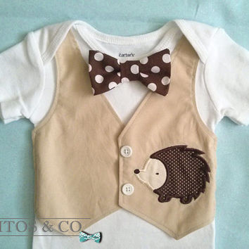 Baby Boy Vest Bodysuit - Baby Hedgehog Bodysuit - Baby Boy Khaki Vest  - First birthday outfit.