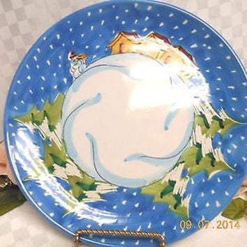 Vietri Pottery Winter Wonderland. white Italy-hand painted Dinner plate MRSP $45
