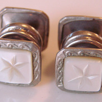 Art Deco Two Sided Snap Carved Mother of Pearl Snag Brand Cuff Links * Groom * Wedding * 1930s * Mens Jewelry * Vintage Jewelry