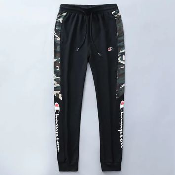Champion New fashion letter print camouflage men sports leisure pants Black