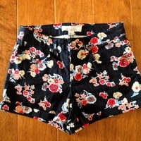 Forever 21 High Waisted Denim Floral Shorts