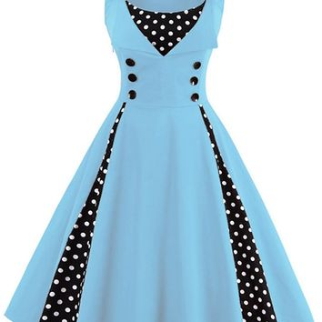 Atomic Baby Blue and Black Polka Dot Pleated Swing Dress