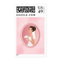 Bride in a White Wedding Dress Holding a Bouquet Postage