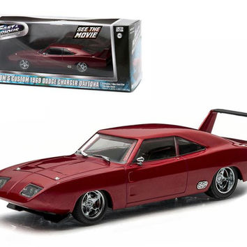 """Dom's 1969 Dodge Charger Daytona Maroon """"Fast and Furious 6"""" Movie (2013) 1-43 Diecast Model Car by Greenlight"""