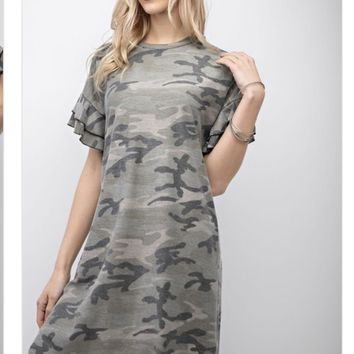 PRE-ORDER: Amber Camo T-Shirt Dress
