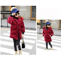 Winter Girls Fashion Jacket Flowers Embroidery Super Warm Kids Solid Coat Hooded Fur Thick Outwear