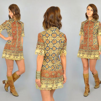 PERSIAN RUG vtg 70's bohemian ethnic tapestry mini DRESS w/ fringe, extra small-small