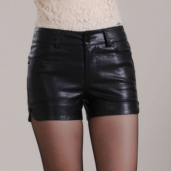 2017 new fashion shorts women ploy urethane leather shorts mini sexy shorts plus size black short femme XL XXL