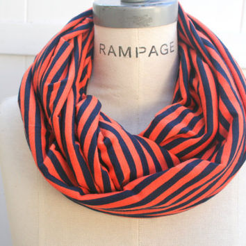 Orange Infinity Scarf FREE SHIPPING Dark Blue Orange Infinity Scarf Women Scarfs Winter Jersey Scarf  - By PIYOYO
