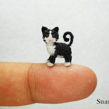 Black White Tuxedo Cat Kitten - Tiny Cat Micro Amigurumi Crochet Miniature Pet Animals - Made to Order