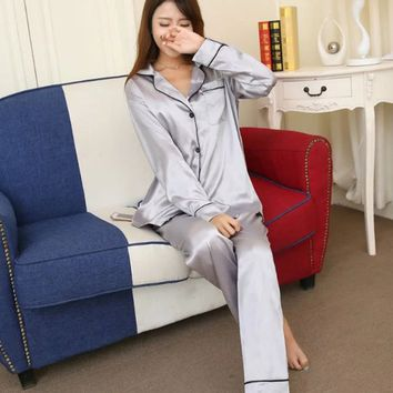 Soft Faux Silk Satin Upscale Couples Pajamas Sets Men Women Long Sleeve Sleepwear Home wear Nightshirt