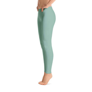 Spring Green Leggings, Polyester and Spandex, Printed Leggings for Women