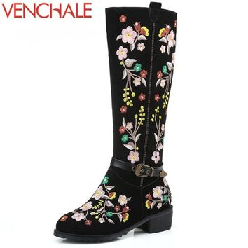 VENCHALE knee-high boots romantic new season arrival high quality ethnic style fashion buckle side zipper women spring shoes