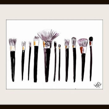 Makeup brushes, Printable, Wall Art, decor, watercolor paintings, decal gift, decals, print, gifts, chanel, modern, shimmer, serum, brush