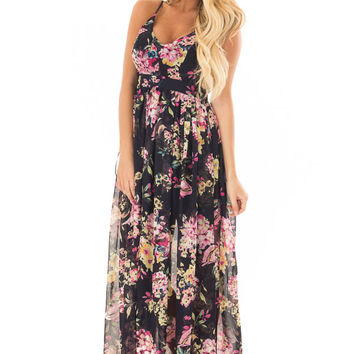 Dark Navy Floral Print Open Back Maxi Dress