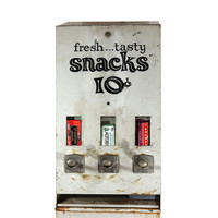 1970s Snack Machine, Tall Metal Candy Dispenser, 1970s Decor