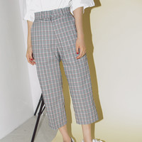 Cropped High-Rise Tartan Pants