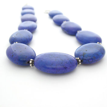 Chunky Purple Necklace,  Magnesite Stone Beads, Statement Necklace
