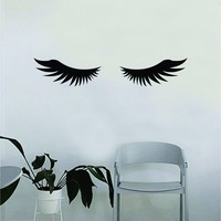 Eyelashes v4 Beautiful Design Decal Sticker Wall Bedroom Living Room Girls Women Ladies Vinyl Decor Art Eyebrows Make Up Cosmetics Beauty Salon MUA lashes