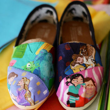 Disney Characters Monsters Inc Tangled Wreck It Ralph Beauty n Beast Painted TOMS or Vans Artwork and Shoes included