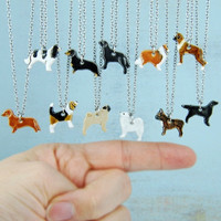 Dog Miniature Ceramic Pendant  Necklace Pet lovers Dachshund Samoyed Lab Frenchie Cavalier Flat Pug