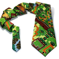 Video game tie, 8 Bit map neck tie, 8 Bit, Mens tie, game map tie, 8 bit game necktie, video game necktie, zelda map, mens necktie