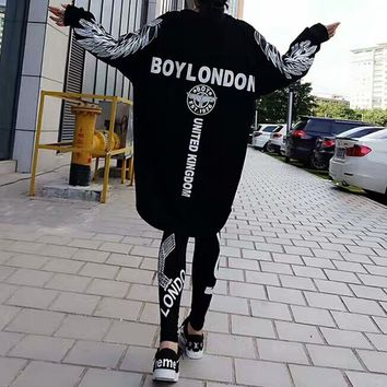 """""""Boy London"""" Women Casual Personality Wing Eagle Letter Pattern Print Loose Long Sleeve Medium Long Section Sweater Dress"""