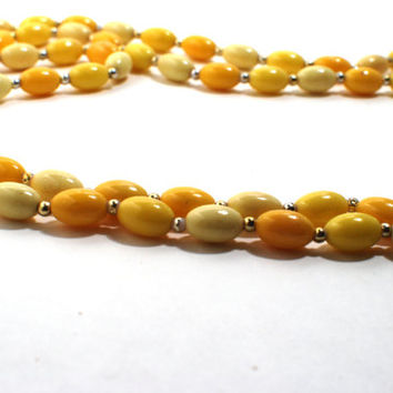 Mid Century Plastic 46'' Long Beaded Necklace Yellow Orange Creamsicle Color