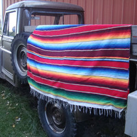 Vintage Retro Hippie Blanket Multi Colors