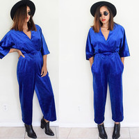 Vintage 70's 80's velvet electric blue v neck lounge wears VANITY FAIR jumpsuit disco romper jumper ankle length pants