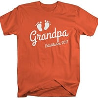 Shirts By Sarah Men's Grandpa Established 2017 T-Shirt Baby Feet Cute Shirts