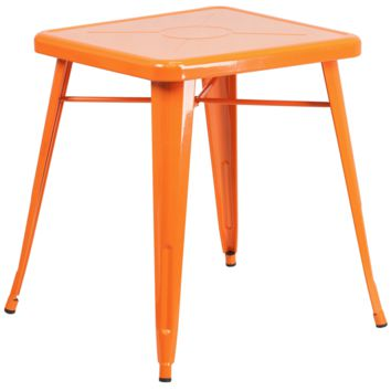 Tolix Style 24'' Square Orange Metal Indoor-Outdoor Table