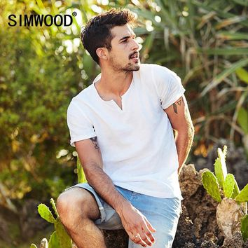 0da957a8d82 SIMWOOD 2019 Summer Shorts Sleeve Shirts Men 100% Linen Breathable Henry  Collar Brand Clothing Shirt