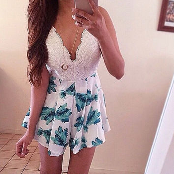 Print Jumpsuit short dress v neck floral hobo dress for women = 4769220612