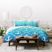 Jacqueline Maldonado Nautical Knots Ombre Blue Duvet Cover